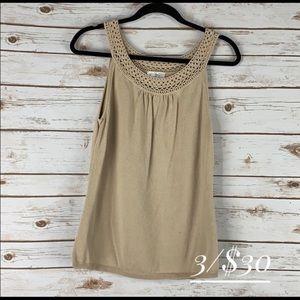 Ann Taylor Loft 100% cotton top/sweater tan large